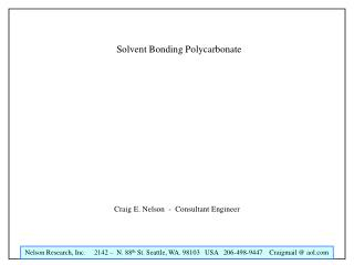 Solvent Bonding Polycarbonate