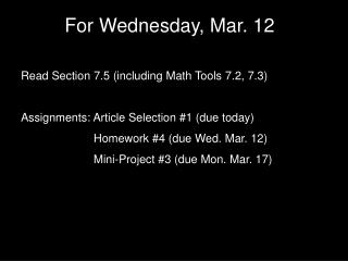 For Wednesday, Mar. 12