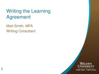 Writing the Learning Agreement