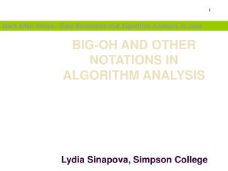BIG-OH AND OTHER NOTATIONS IN ALGORITHM ANALYSIS