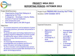 PROJECT : MGA 2013 REPORTING PERIOD :  OCTOBER 2013