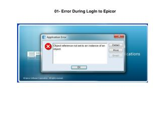 01- Error During LogIn to Epicor