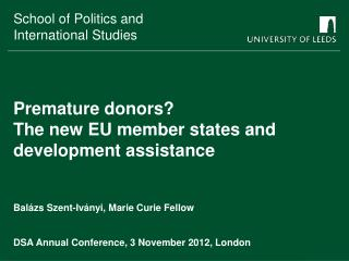 Premature donors?  The new EU member states and development assistance