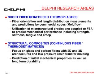 DELPHI RESEARCH AREAS