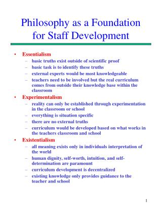 Philosophy as a Foundation for Staff Development