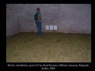 Worlds,  installation, grass 5x5 m, Real Presence, Military museum, Belgrade, Serbia, 2005
