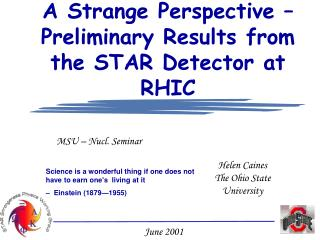 A Strange Perspective – Preliminary Results from the STAR Detector at RHIC