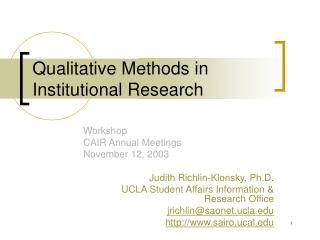Qualitative Methods in Institutional Research