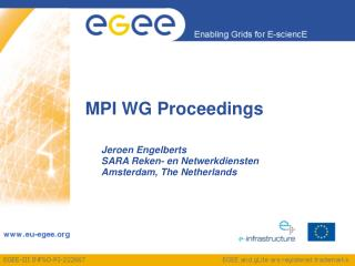 MPI WG Proceedings