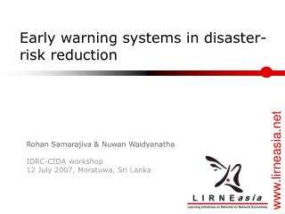 Early warning systems in disaster-risk reduction