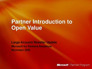 Partner Introduction to Open Value