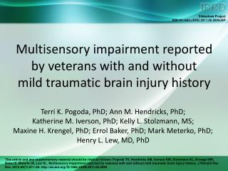 Multisensory impairment reported by veterans with and without  mild traumatic brain injury history