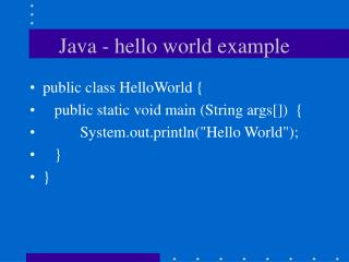 Java - hello world example