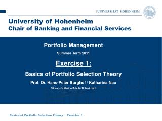 Basics of Portfolio Selection Theory   Exercise 1