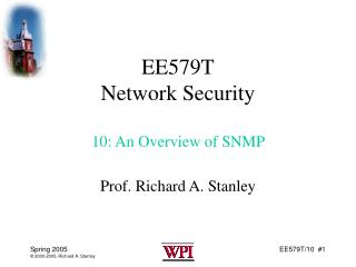 EE579T Network Security 10: An Overview of SNMP
