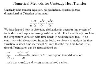 Numerical Methods for Unsteady Heat Transfer