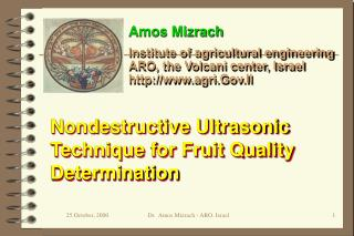 Nondestructive Ultrasonic Technique for Fruit Quality Determination