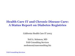 Health Care IT and Chronic Disease Care: A Status Report on Diabetes Registries