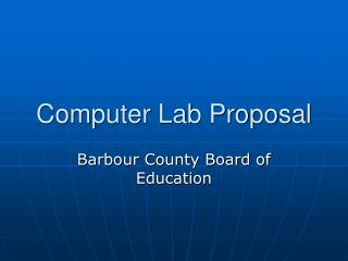 Computer Lab Proposal