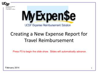 Creating a New Expense Report for Travel Reimbursement