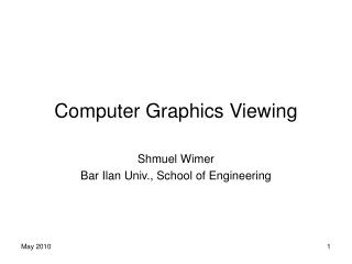 Computer Graphics Viewing