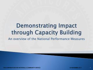 Demonstrating Impact through Capacity Building