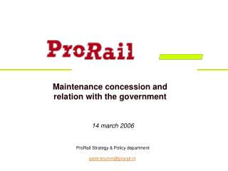 Maintenance concession and  relation with the government