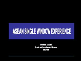 ASEAN SINGLE WINDOW EXPERIENCE
