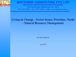 Living in Change - Sector Issues, Priorities, Needs - Natural Resource Management