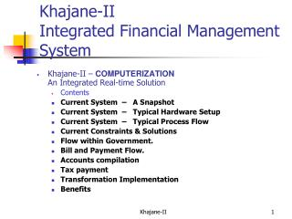 Khajane-II  Integrated Financial Management System