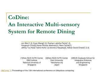 CoDine:  An Interactive Multi-sensory System for Remote Dining