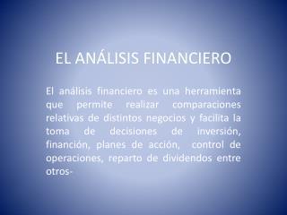 EL ANÁLISIS FINANCIERO