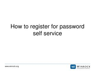 How to register for password self service