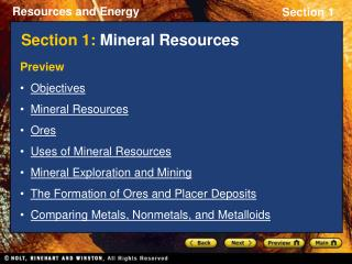 Section 1:  Mineral Resources