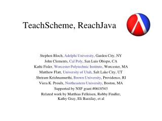 TeachScheme, ReachJava