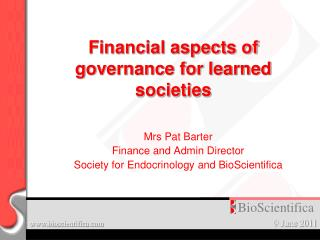 Financial aspects of governance for learned societies