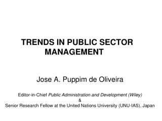 TRENDS IN PUBLIC SECTOR MANAGEMENT
