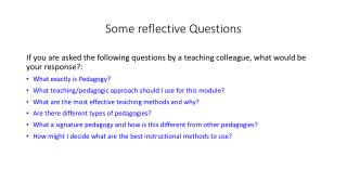 Some reflective Questions