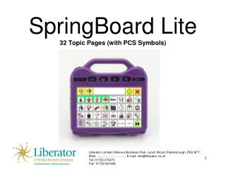 SpringBoard Lite 32 Topic Pages (with PCS Symbols)
