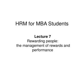 HRM for MBA Students