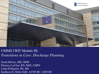 Transitions in Care: Discharge Planning