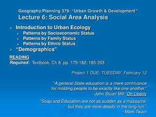 """Geography/Planning 379: """"Urban Growth & Development"""" Lecture 6: Social Area Analysis"""