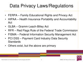 Data Privacy Laws/Regulations