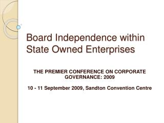 Board Independence within State Owned Enterprises