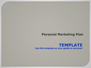 Personal Marketing Plan