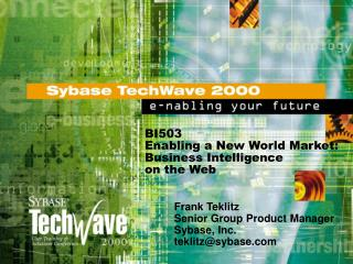 BI503 Enabling a New World Market: Business Intelligence on the Web