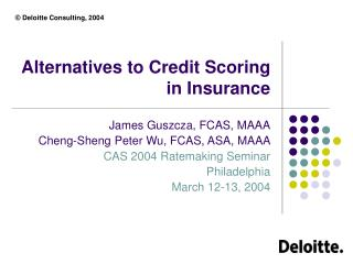Alternatives to Credit Scoring in Insurance