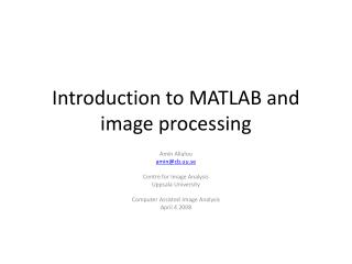 Introduction to MATLAB and image processing