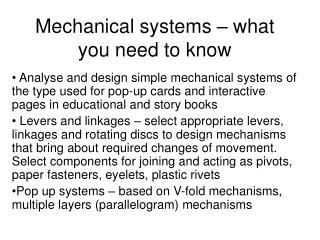 Mechanical systems – what you need to know