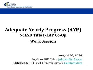 Adequate Yearly Progress ( AYP ) NCESD Title I/LAP Co-Op  Work Session August 26, 2014